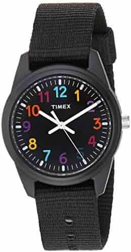 Timex Kids TW7C10400 Black Resin Watch with Black Nylon Strap
