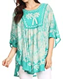 Sakkas 17030 - Lynda Two Tone Batik Embroidered Palm Tree Peasant Top / Poncho - Mint / White - OS