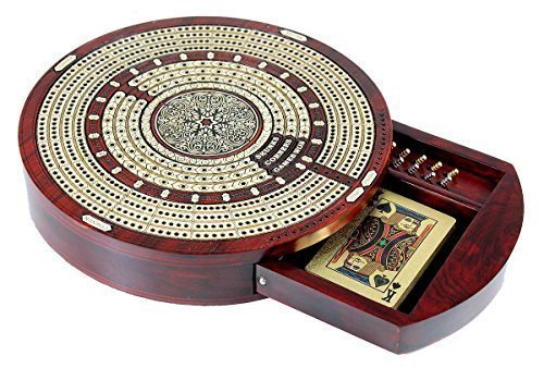 Shape Cribbage Board - House of Cribbage - Round Shape 4 Tracks Continuous Cribbage Board Bloodwood / Maple with Push Drawer & place for Skunks, Corners & Won Games