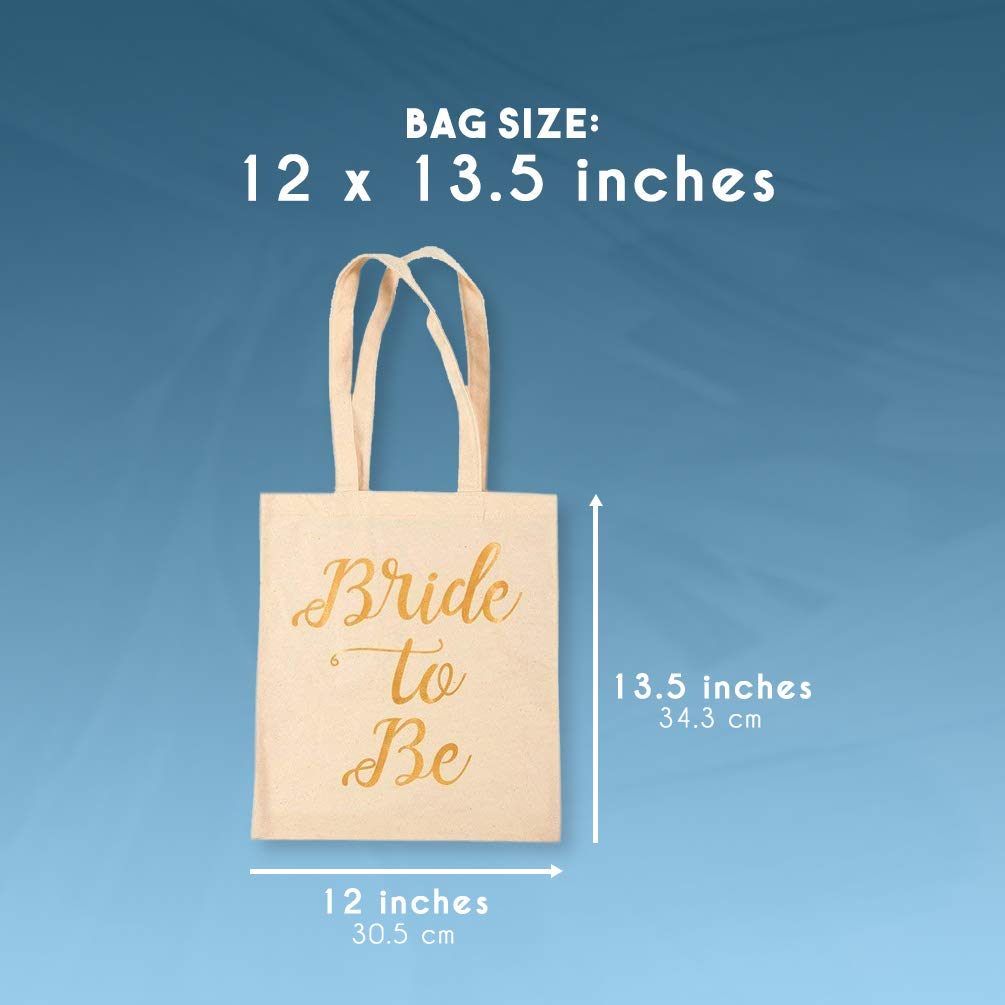 Bridal Shower Canvas Tote Bag - 5-Pack Reusable Shopping Bags for Wedding Favors, Bachelorette Party Gifts, and Bridal Shower Accessories 13.5 x 12 Inches by Blue Panda (Image #5)