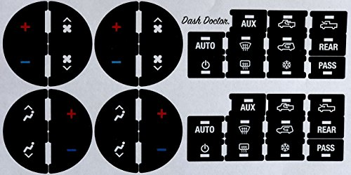 Dash Doctor. 2007-2015 GM Air Conditioning/Heating Control Button Restoration Decal Set! Fits Chevy GMC Cadillac Buick, Silverado Tahoe Suburban Avalanche Traverse Sierra Yukon Escalade Enclave ()