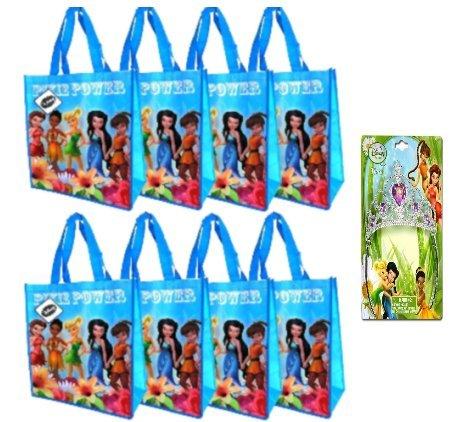 Disney Fairies Tinkerbell Reusable Tote Bag (14 X 15 Inches) 8 Pack, Bonu Disney Fairies Tiara