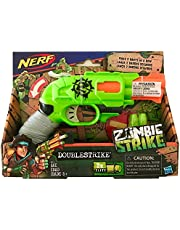 Nerf: Zombie Strike - Doublestrike Blaster - Action toy - Double-barrel - Designed to be compact and lets you fire one-handedly - A cool blaster that lets you load fast with one hand and fire with the other.