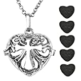 JOVIVI Antique Silver Heart Cross Openable Locket Essential Oil Perfume Aromatherapy Diffuser Pendant Necklace with 5 Dyed Lava Stones