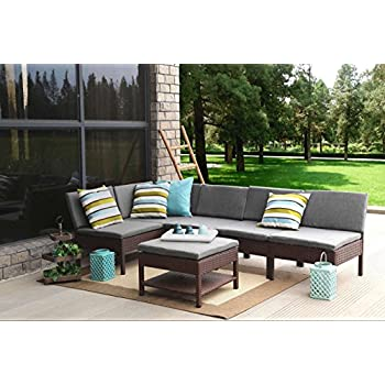 Outsunny 4 Piece Outdoor Rattan Wicker Sofa