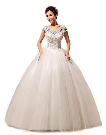 yacun new flat shoulders embellished brush train wedding dress custom size