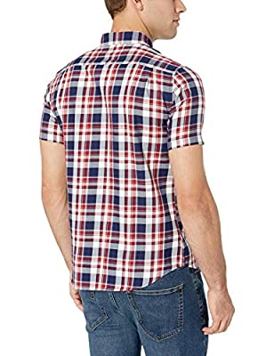 Amazon Essentials Men's Slim-Fit Short-Sleeve Two-Pocket Twill Shirt, White/red Plaid, X-Large