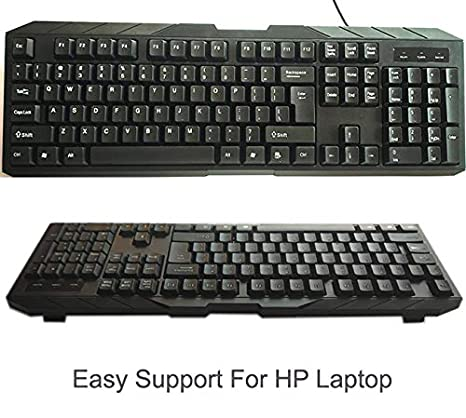 SMM Wired USB Keyboard with Numpad Compatible for HP Laptop Black  Keyboards