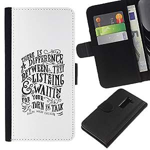 JackGot ( Escuchar Hablar de motivación inspiradora ) LG G2 D800 la tarjeta de Crédito Slots PU Funda de cuero Monedero caso cubierta de piel