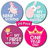 Baby Girl 24 Pack Milestone Stickers | Includes 12 Monthly Stickers and 12 First Holiday Stickers by Kinokyo