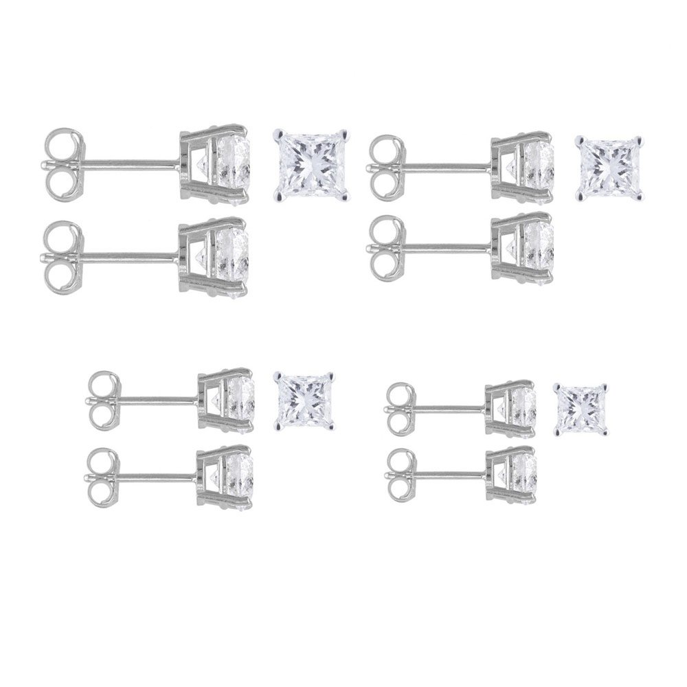 4 Pairs Set of (3, 4, 5, 6mm) Sterling Silver Pricess Cut Simulated Diamond Stud Earring Set on Prong Setting with Rhodium Finish & Friction Style Post