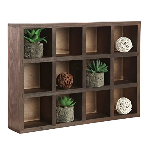 12 Compartment Brown Wood Freestanding or Wall Mounted Shadow Box, Display Shelf Shelving Unit ()