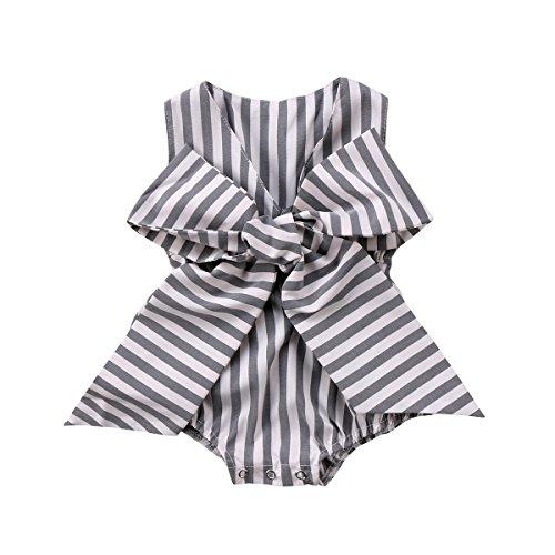 Guogo Baby Girls Sunsuit Outfit Striped Bubble Bodysuit Big Bowknot Romper (Grey, 12-18 (Infant Bubble)