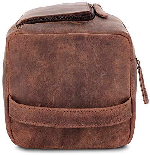 LEABAGS Palm Beach genuine buffalo leather toiletry bag in vintage style - Nutmeg by LEABAGS (Image #9)