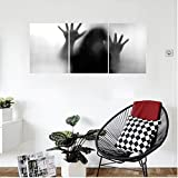 Liguo88 Custom canvas Horror House Decor Silhouette of Woman behind the Veil Scared to Death Obscured Paranormal Photo Wall Hanging for Bedroom Living Room Gray