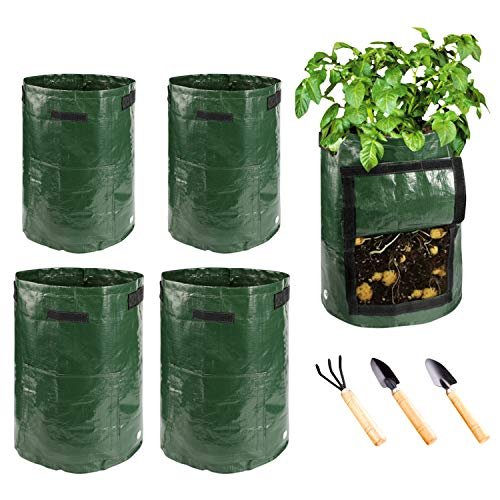 Potato Grow Bags - 2 Pack 10 Gallon and 2 Pack 7 Gallon Garden Vegetables Planter Bags with Handles and Access Flap for Grow Vegetables - Vegetable Growing Bags Outdoor