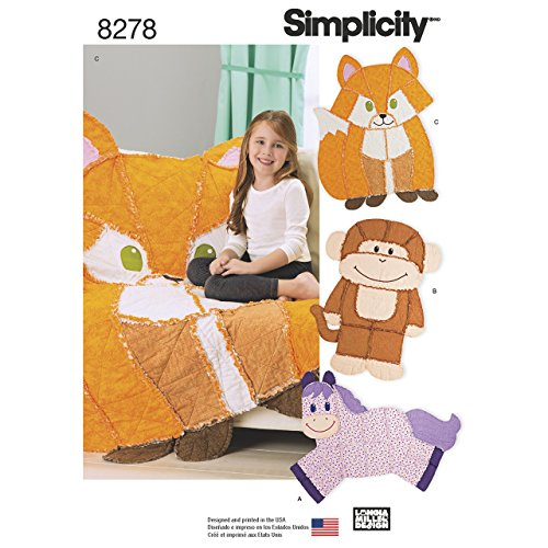 Simplicity 8278 Kid#039s Animal Rag Quilt Sewing Patterns One Size