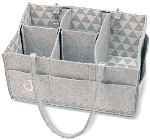 JOOUNO Baby Diaper Caddy Nursery Storage Bin - Stylish Boys-Girls Changing Table Organizer Basket - Removable Handles - Large Portable Car Travel Bag - Baby Registry Must Haves