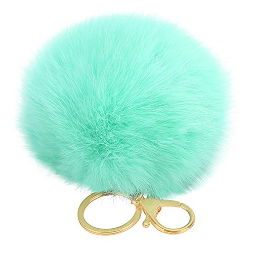 JYS365 Furry Rabbit Fur Key Ring Ball Keychain Bag Key Hanging Accessories - Mint Green