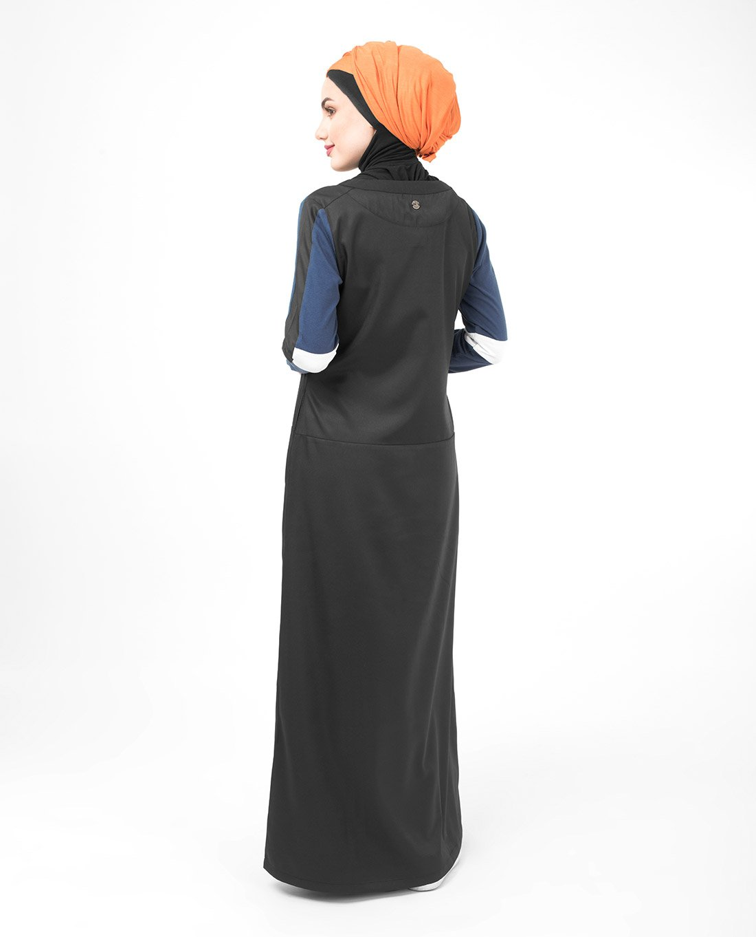 Silk Route Black Navy And White Subtle Curve Polyester Sporty Maxi Dress Jilbab Large 54 by Silk Route (Image #6)