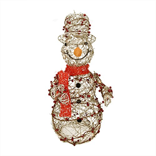 ed Champagne Gold Glittered Rattan Berry Snowman Christmas Outdoor Decoration ()