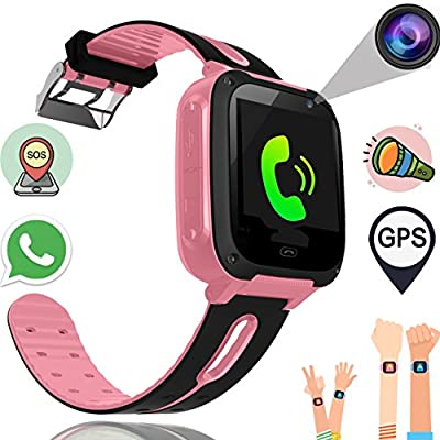Kids Smart Watch Phone for Boys Girls with GPS Tracker Synmila Smart Wrist Watch Phone with SIM Fitness Trackers with Camera Touch Screen Anti-lost Wearable Phone Watch Bracelet for iOS