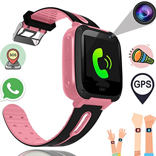 Kids Smart Watch Phone for Boys Girls with GPS Tracker Synmila Smart Wrist Watch Phone with SIM Fitness Trackers with Camera Touch Screen Anti-lost Wearable Phone Watch Bracelet for iOS Android (Pink)