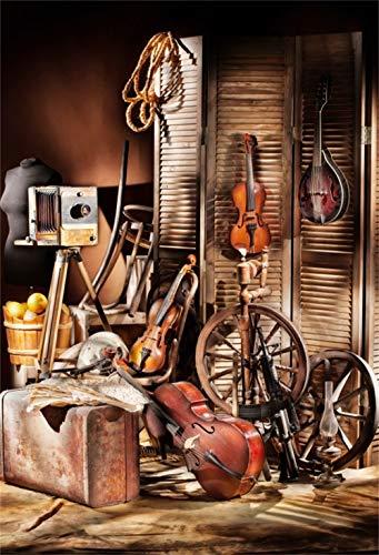 (Laeacco 6.5x8ft Rustic Barn Interior Vinyl Photography Background Screen Violins Wheels Gun Old Camera Suitcase Backdrop Western Adult Cowboy Portrait Shoot Nostalgia Wallpaper Studio)