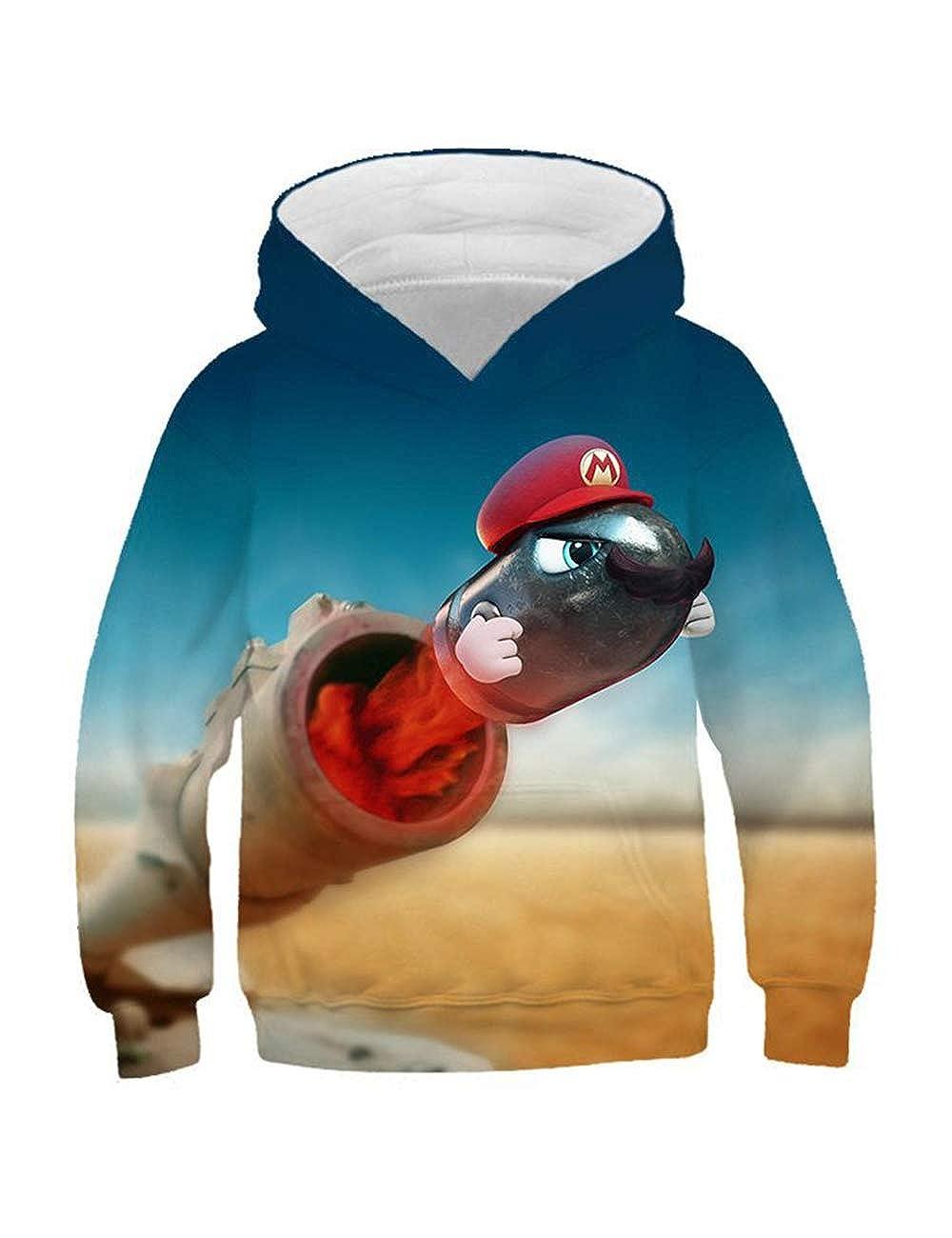 Stampa 3D Casual Felpa con Cappuccio Super Mario per Bambini,Super Mario Bros Felpa per Ragazzo e Ragazza Manica Lunga con Cappuccio Hoodie Pullover
