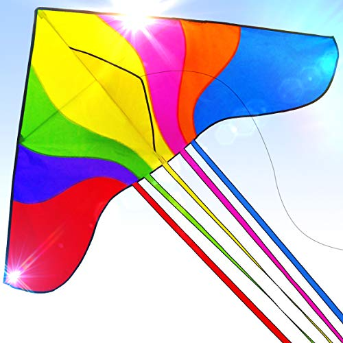 Easy to Fly Large Nylon Bird Kite for Kids and Adults Great for Beach Trip and Outdoor Activities Perfect for Beginners Flies in Light Breeze Flying String Line Included Big Flyer Childrens Toys ()