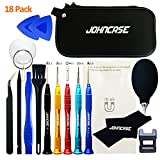 Johncase 18 Pcs Professional Precision Cell Phone Electronics Repair Tool Kit,Magnetic Screwdriver Driver Set with Portable Case for Fix Mobile Devices/iPhone/iPad/Apple Watch/MacBook/Tablet and More