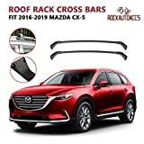 ROKIOTOEX Roof Rack Crossbars Aluminum fit for MAZDA CX-5 CX5 2016 2017 2018 2019 Factory Roof Rails Anti-Corrosion Top Luggage Black Aluminum Cross Bars