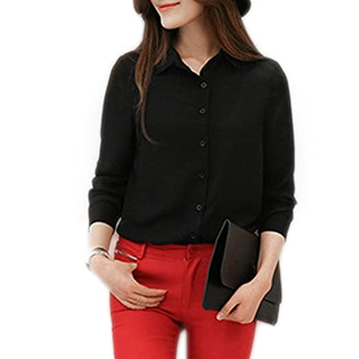 55f3ad02f6e MODA JIHAN Women s Long Sleeve Button Down Chiffon Blouse Shirt Top (XXL