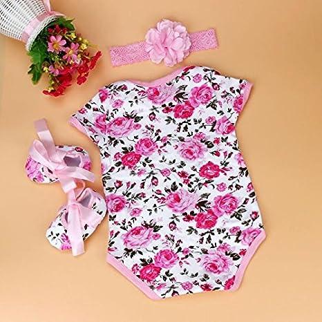 Feixiang Black Friday Ropa para bebé Niña recién Nacida Mono Floral Medias + Zapatos + Diadema Conjunto de Tres Piezas Conjunto de Disfraces Bebé Femenino: ...