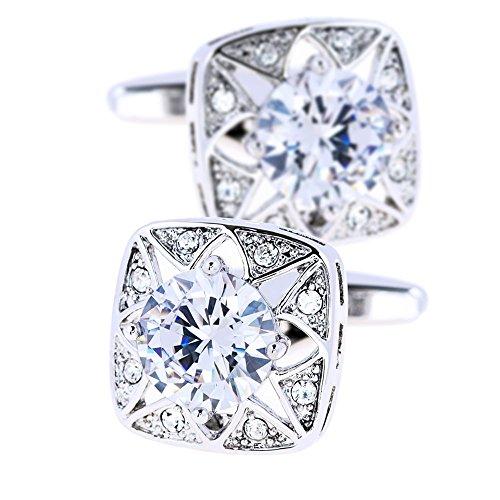 KFLK White Stone And Crystal Cufflinks