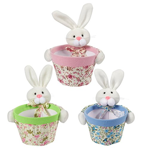 (Candy Holders - 3-Pack Bunny Rabbit Candy Bowls, Ideal for Displaying Candy - Home Decorfor Living Room, Dining Room, Kids Rooms, Classrooms, Kitchen, Pink, Green, and Blue, 6.3 x 5.8 x 8 Inches)