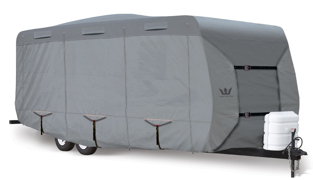 S2 Expedition Travel Trailer Covers by Eevelle | Marine Grade Waterproof Fabric Roof | Tan and Gray by S2 Expedition
