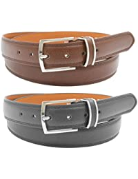 Mens Black and Brown Leather Belts (2 Pack)