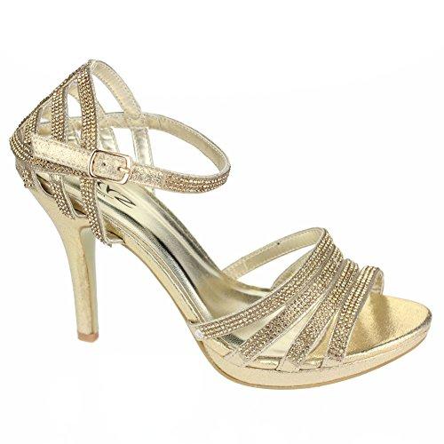 Chaussures Mariage Heel Taille Argent Femmes Noir de Rouge Prom Sandal Or soirée High de Aarz Champagne Diamante Mesdames Bridal Or Soirée pOwYqcCz