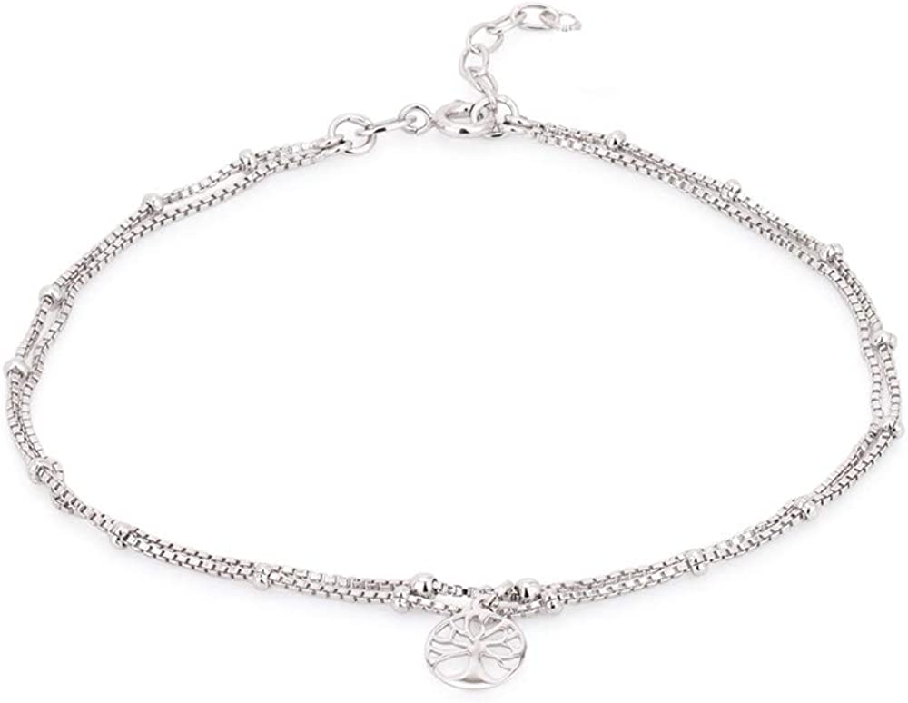 Vanbelle Sterling Silver Jewelry Beaded Multi-Chain Anklet with Dangling Tree of Life and Rhodium Plated for Women and Girls