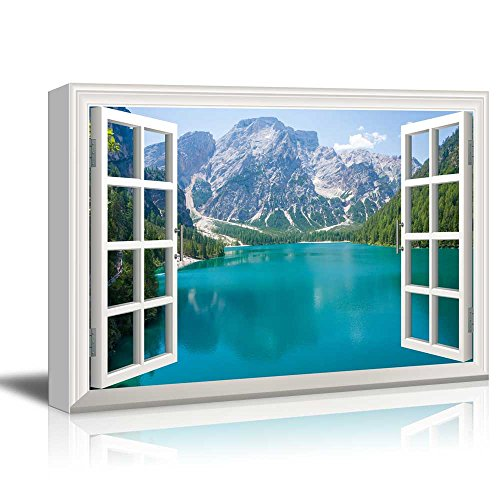 Window View Nature Landscape with Mountains and Blue Lake