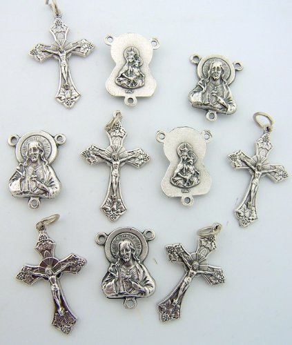 Rosary Repair Kit Divine Mercy Sacred Heart Centerpiece Silver Tone Cross Crucifix Lot 5 Each