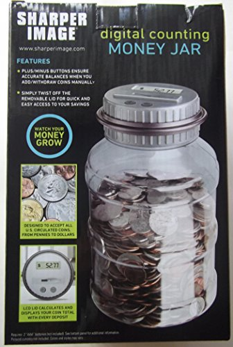 Sharper Image Digital Counting Money Jar with LCD Display, Counts All U.S. Coins by Sharper Image (Image #1)