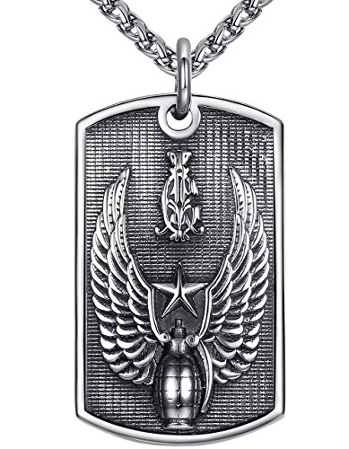 (Men's Stainless Steel Heavy Army Wing Grenade Dog Tag Biker Pendant Necklace 24