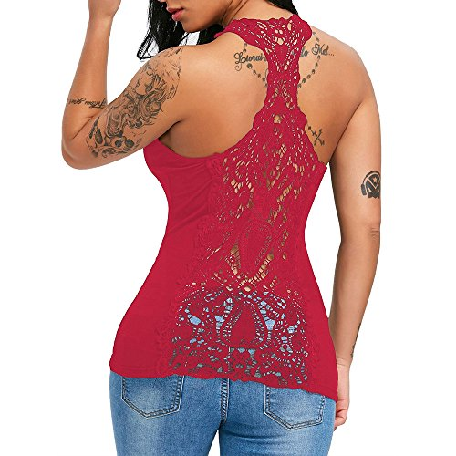 FarJing Hot sale Fashion Sexy Womens U Neck Lace Trim Racerback Tank Tops Hollow Out Sport Vest (S,Red )