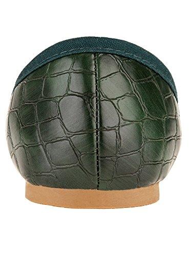 Leather With Green 6e00n Shoes Ultra Bows Crocodile Skin oodji Women's Faux UqnaT