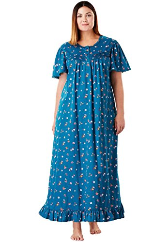 Knit Gown - Dreams & Co.. Women's Plus Size Cotton Knit Gown with Lace-Edged Flutter Sleeves