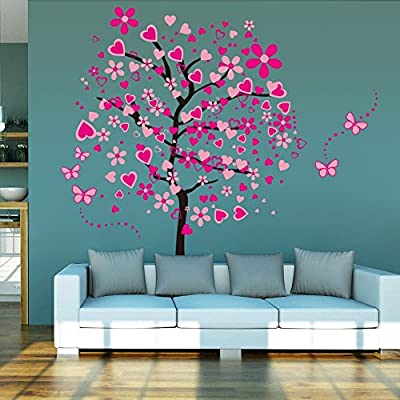 Huge Size Cartoon Heart Tree Butterfly Wall Decals Removable Wall Decor Decorative Painting Supplies & Wall Treatments Stickers for Girls Kids Living Room Bedroom