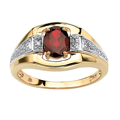 Men's 18K Yellow Gold over Sterling Silver Oval Cut Genuine Red Garnet and Diamond Accent Ring Size 9