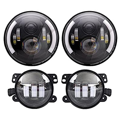 DOT Approved 7'' Black Daymaker LED Headlights + 4 '' LED Fog Lights for Jeep Wrangler 97-2017 JK TJ LJ